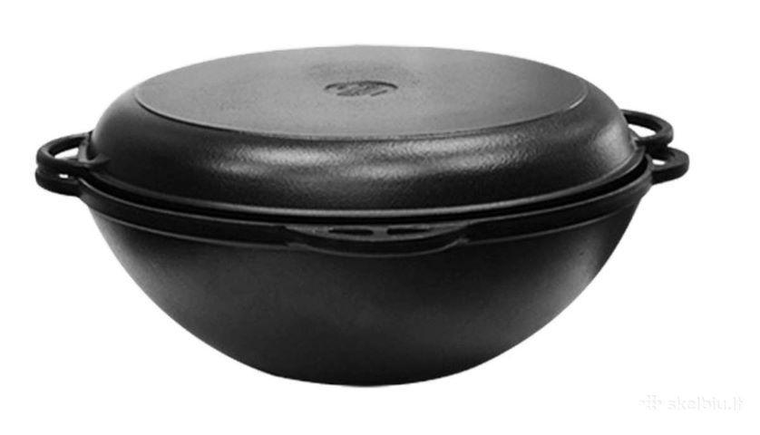 Čuguna katls (melns) ar vāka pannu